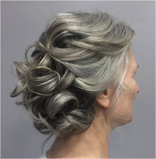 Gray Curly Updo For Mother The Bride