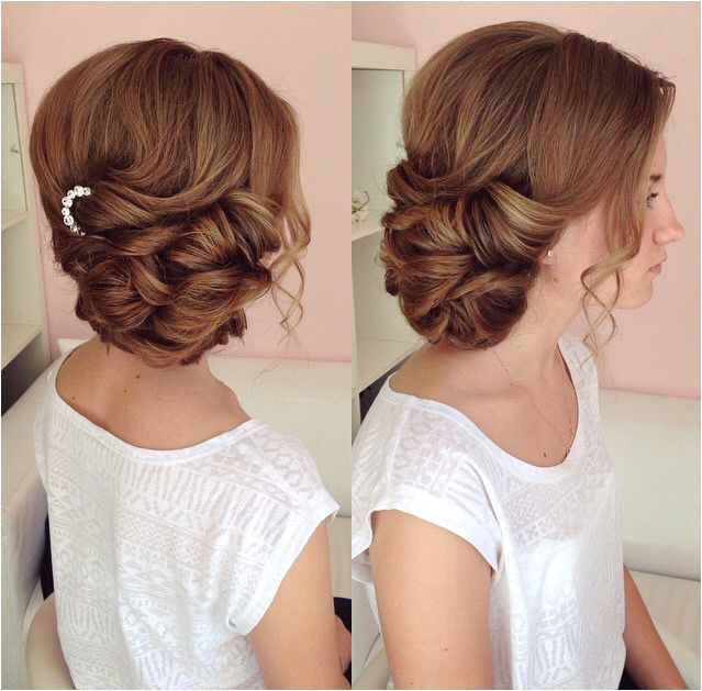 Side swept updo draped updo wedding hairstyles bridal hair ideas More