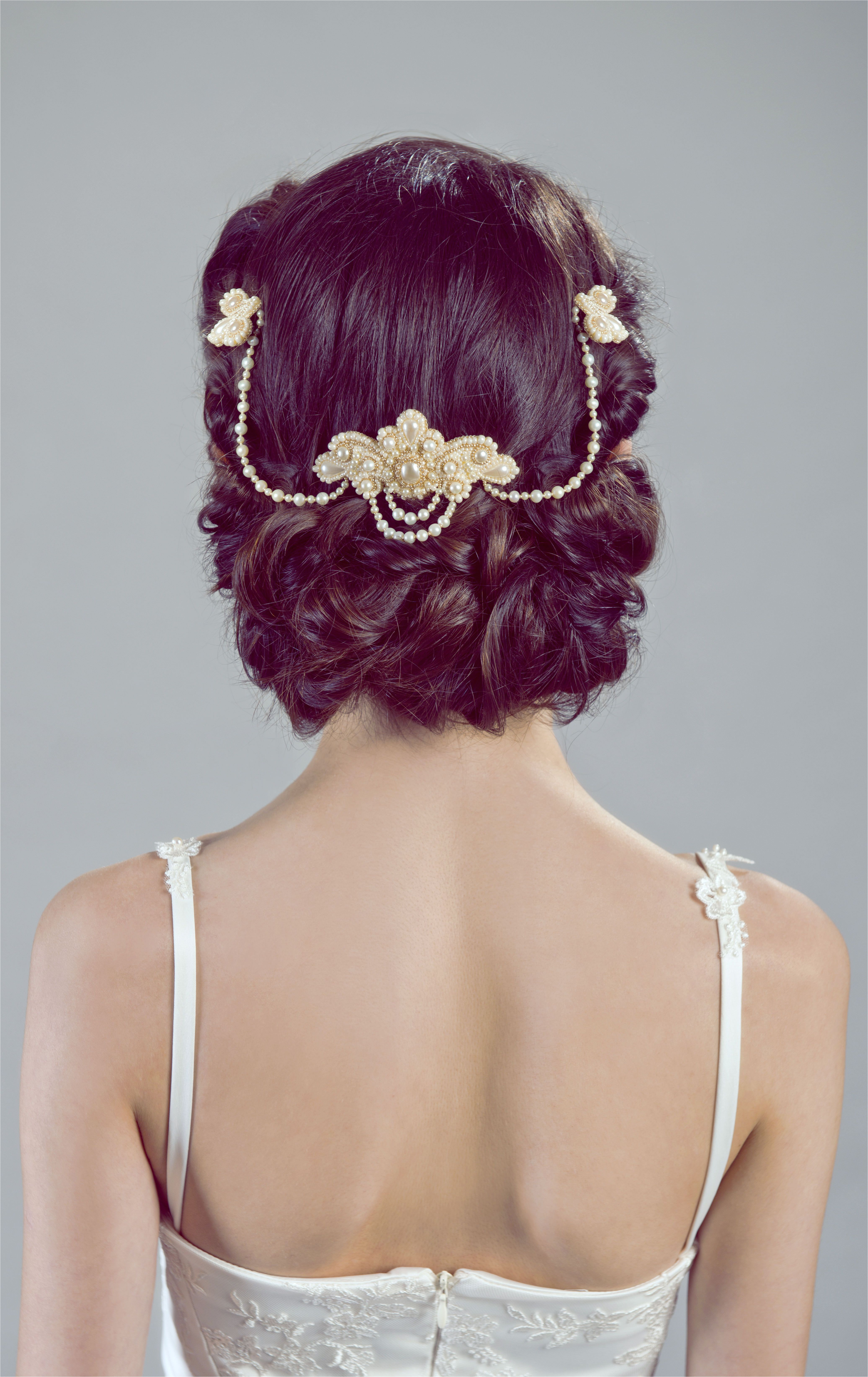 Lucrezia unique bridal headpiece jewelry real freshwater pearls vintage inspired renaissance princess