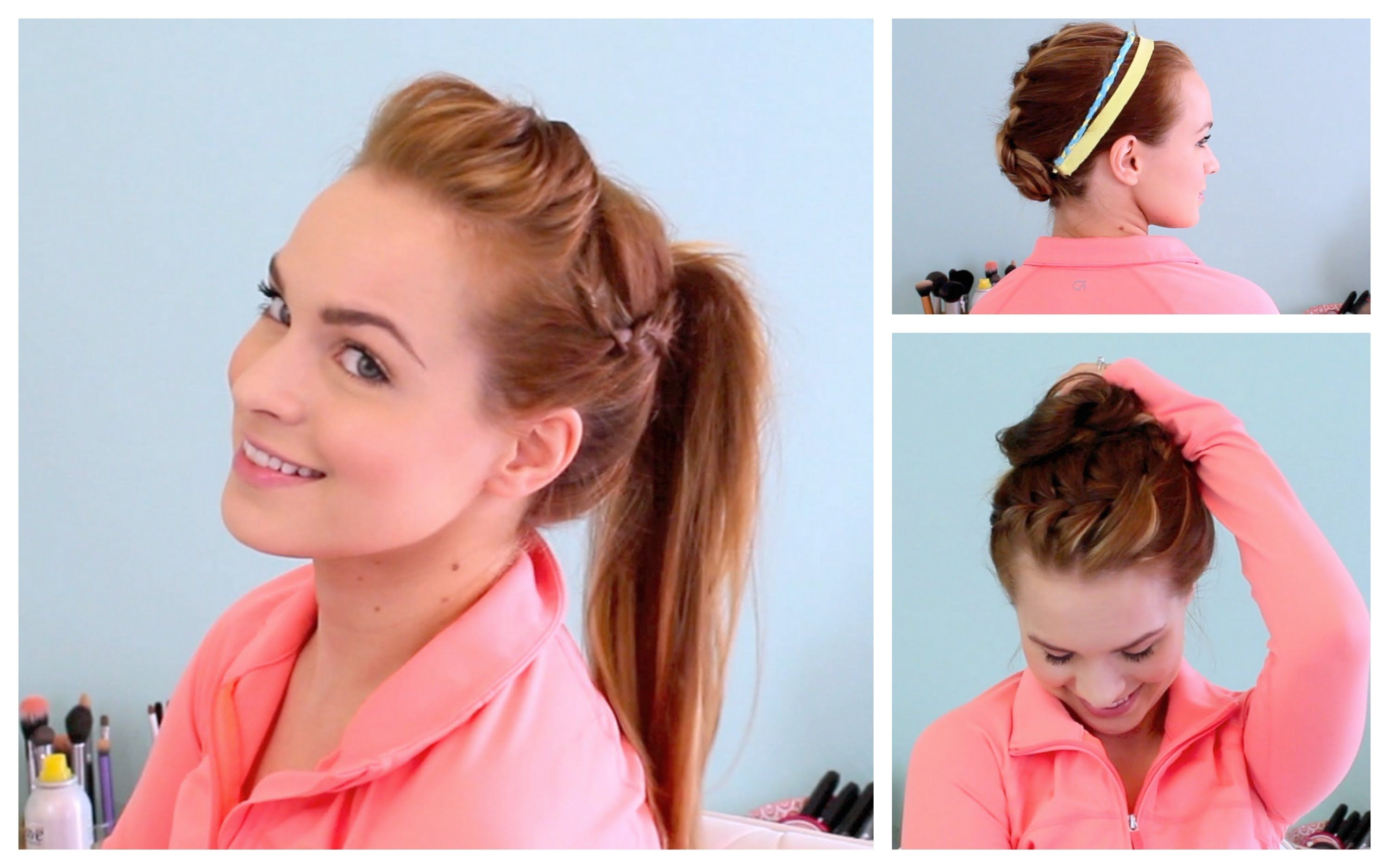 3 Workout Ready Hairstyles DIY Headband Hairstyles For Long Hair