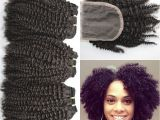 4c Virgin Hair Extensions 4a 4b 4c Afro Kinky Curly Human Hair Weave Bundles with Lace Closure