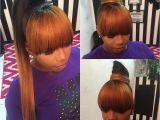 Black Girl Ponytail Hairstyles with Bangs Kinda Like the Color Concept Hair In 2018 Pinterest