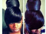 Black Hairstyles Bangs Ponytails Ponytail Hair Make Up and Nails Pinterest