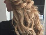 Blonde Hair Up Hairstyles Boho Wedding Hair Blonde Long Loose Beach Waves Half Up Highlights