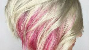 Blonde Hairstyles with Pink Highlights Red Peekaboo Platinum Blonde Short A Line Hairstyles 2019 for Women