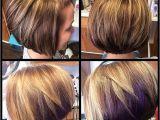 Bob Haircut with Peekaboo Highlights Auburn Brown Base with Rich Blonde Highlights & A Fun