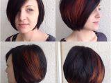 Bob Haircut with Peekaboo Highlights Women S Classic Bob On Dark Hair with Bright Fiery