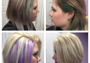 Bob Hairstyles Purple before and after Hidden Purple Highlights Under Platinum Blonde