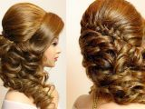 Braided Curly Hairstyles for Prom Curly Prom Wedding Hairstyle with Braid for Long Hair