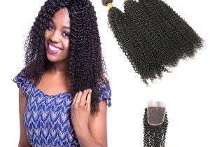 Brazilian Curly Weave Hairstyles Kinky Curly Weave Human Hair Bundles with Closure Brazilian Hair