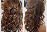 Bridesmaid Hairstyles Down Medium Length Half Up Half Down Hair with Curls Prom Hairstyles for Medium