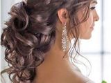 Bridesmaid Hairstyles Side Curls Braided Loose Curls Low Updo Wedding Hairstyle