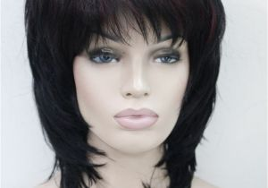 "Chin Length Feathered Hairstyles Medium Length Black with Dark Burgundy Highlight Layered 15"" Long"