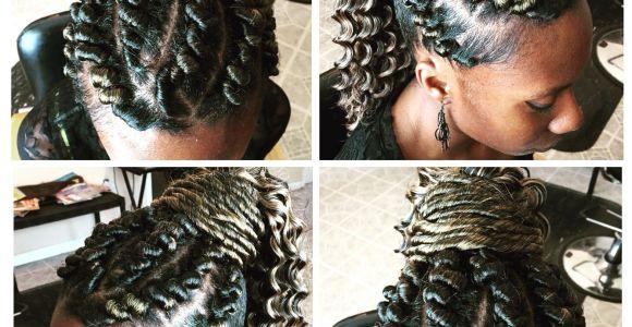 Corkscrew Braids Hairstyles Corkscrew Flattwist Flat Twists Twist Ponytail Updo Hair