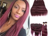 Crochet Hairstyles with Human Hair 2019 Wine Red Burgundy Bundles Weave Hair Bundles with Closures