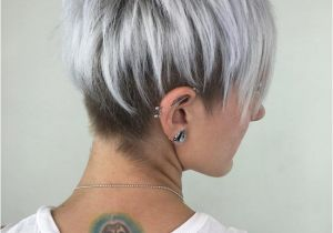 Cropped Hairstyles for Grey Hair Silver Pixie Cut with Layered Lowlights Hair Styles