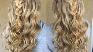 Curly Braided Hairstyles for Prom Blonde Braid Prom formal Hairstyle Half Up Long Hair Wedding Updo