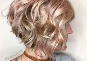 Curly Hair A Line Bob Wavy Inverted Bob with A Hint Of Pink