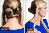 Cute 2 Bun Hairstyles Back Central Braid Coiled Into A Bun and Two Side Braids Tucked Up