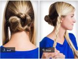 Cute 2-in-1 Hairstyles Back Central Braid Coiled Into A Bun and Two Side Braids Tucked Up