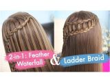 Cute 2-in-1 Hairstyles Feather Waterfall & Ladder Braid Bo