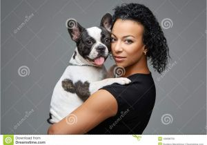 Cute Girls Hairstyles Dog Young Woman with French Bulldog Dog Stock Image Of Afro