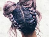 Cute Hairstyles with Buns Girl with Purple Hair and Pretty Hairstyle with Two Dutts