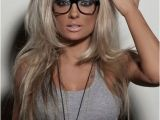 Cute Hairstyles with Glasses Straight Platinum Filled Hair