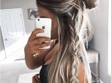 Cute Hairstyles You Can Do In 5 Minutes Half Up Hairstyle Into A Bun with A Braid On One Side Simple yet