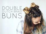 Dutch Braid Cute Girl Hairstyles Double Dutch Braid Buns Half Up Hairstyle