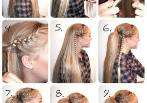 Easy Cheerleading Hairstyles Braided High Ponytail Tutorial Hair Pinterest
