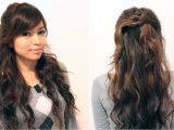 Easy Down Hairstyles for Medium Hair Easy Holiday Curly Half Updo Hairstyle for Medium Long