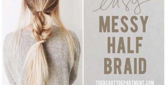 Easy Hairstyles 5 Minutes Splendid Best 5 Minute Hairstyles – Messy Half Braids and Ponytail