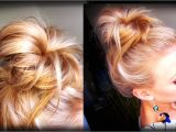 Easy Hairstyles to Do before Bed Hair How to Messy topknot Bun