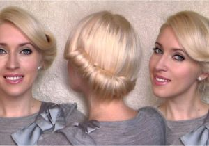 Easy Vintage Hairstyles for Medium Hair Side Swept Rolled Updo Hairstyle for Medium Short Hair