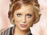 Elegant Short Hairstyles for Weddings Short Curly formal Hairstyle with Side Swept Bangs Dark