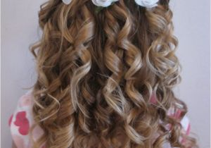 Flower Girl Hairstyles Half Up Wedding Ideas Flower Girl with Blue Flowers In Her Half Up