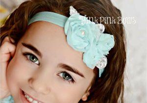 Flower Girl Hairstyles with Headband Beautiful Aqua Chiffon Shabby Chic Flower Baby Headband