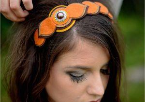 Flower Girl Hairstyles with Headband Womens Fall Headband Felt Flowers Autumn orange Brown Rust