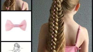 Four Braid Hairstyle Ponytail with A Four Strand Ribbon Braid and A Little Cute Bow From