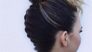 French Braid with Bun Hairstyles Hair by Jessica Ryland Upside Down French Braid Bun Faux Bangs