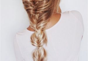 Gym Hairstyles for Extensions Faux Fishtail Braid Blonde Ombre Balayage Highlights Extensions