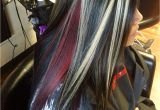 Hairstyles Black with Red Highlights Chunky Blonde Highlights with All Over Black and A Red Halo