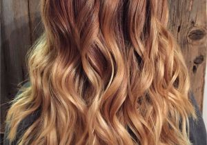 Hairstyles Copper Highlights Copper Red to Blonde Ombré with Balayage Highlights