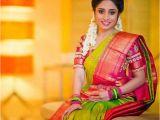 Hairstyles for Designer Half Sarees Green Kanjivaram Silk Saree 18k Bridal Wears