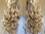 Hairstyles for Homecoming with Braids Blonde Braid Prom formal Hairstyle Half Up Long Hair Wedding Updo