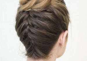 Hairstyles for School Tied Up Upside Down Braided Bun Beauty
