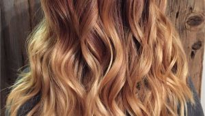 Hairstyles with Blonde Red and Brown Copper Red to Blonde Ombré with Balayage Highlights