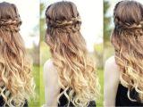 Half Braided Half Curly Hairstyles Curly Half Updo Hairstyles Beautiful Half Down Half Up