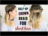Half Updo Hairstyles Youtube Half Up Crown Braid for Short Medium Length Hair
